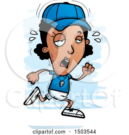 Clipart of a Tired Running Black Female Coach - Royalty Free Vector Illustration by Cory Thoman