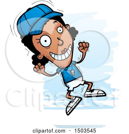 Clipart of a Jumping Black Female Coach - Royalty Free Vector Illustration by Cory Thoman