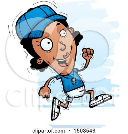 Clipart of a Running Black Female Coach - Royalty Free Vector Illustration by Cory Thoman