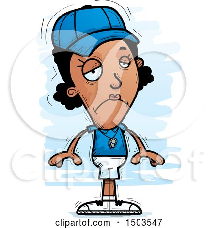 Clipart of a Sad Black Female Coach - Royalty Free Vector Illustration by Cory Thoman
