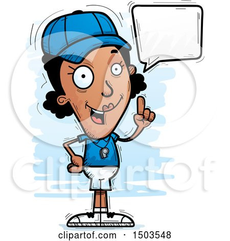 Clipart of a Talking Black Female Coach - Royalty Free Vector Illustration by Cory Thoman
