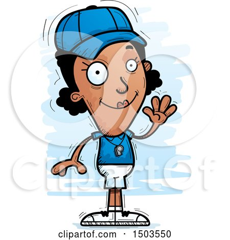 Clipart of a Waving Black Female Coach - Royalty Free Vector Illustration by Cory Thoman