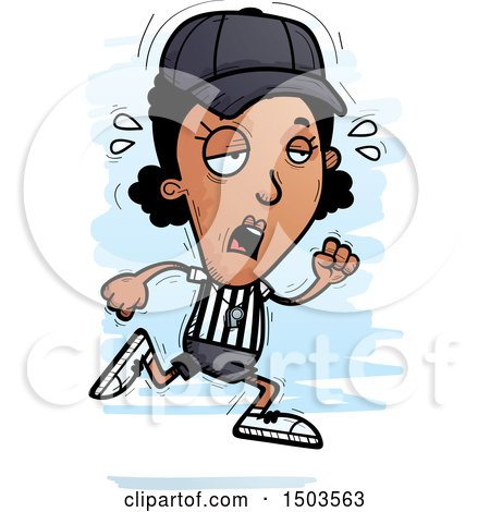 Clipart of a Tired Running Black Female Referee - Royalty Free Vector Illustration by Cory Thoman