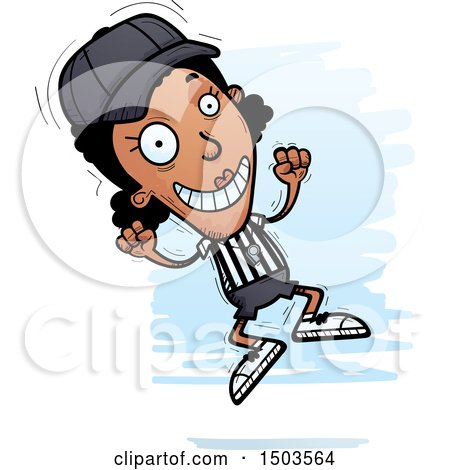 Clipart of a Jumping Black Female Referee - Royalty Free Vector Illustration by Cory Thoman