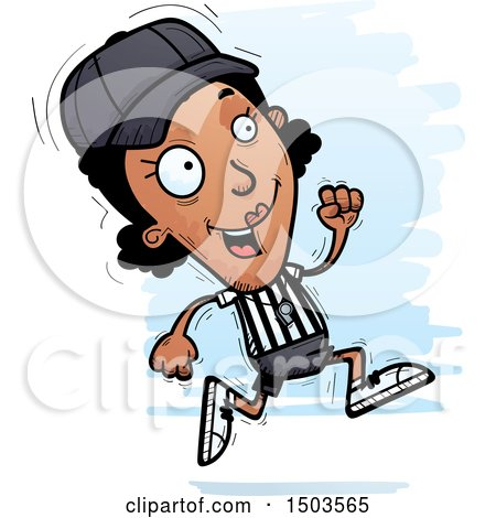 Clipart of a Running Black Female Referee - Royalty Free Vector Illustration by Cory Thoman