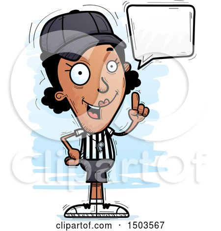 Clipart of a Talking Black Female Referee - Royalty Free Vector Illustration by Cory Thoman