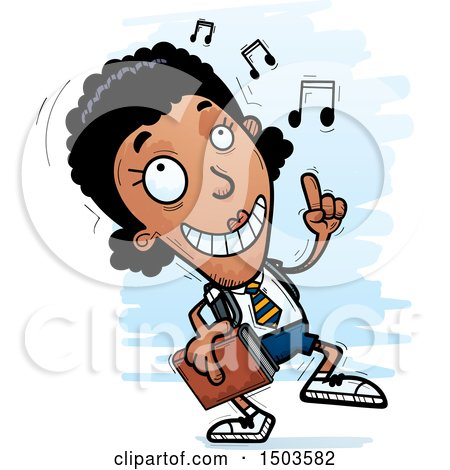 Clipart of a Black Female College Student Doing a Happy Dance - Royalty Free Vector Illustration by Cory Thoman