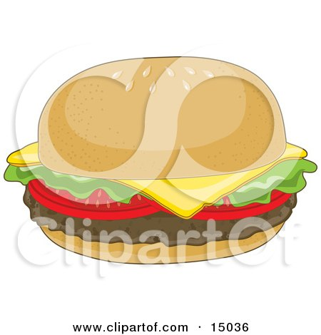 Hamburger With Lettuce, Tomato And Cheddar Cheese On A Bun With Sesame Seeds Clipart Illustration by Maria Bell