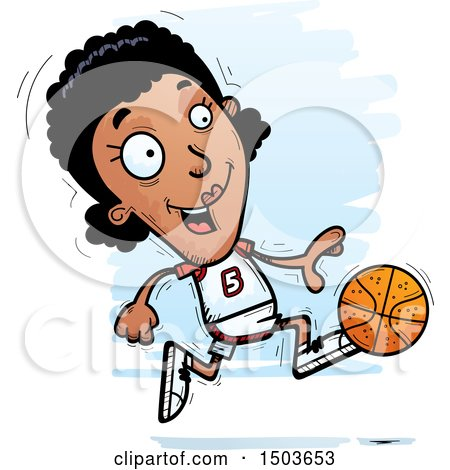 Clipart of a Running Black Female Basketball Player - Royalty Free Vector Illustration by Cory Thoman