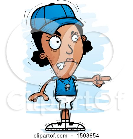 Clipart of a Mad Pointing Black Female Coach - Royalty Free Vector Illustration by Cory Thoman
