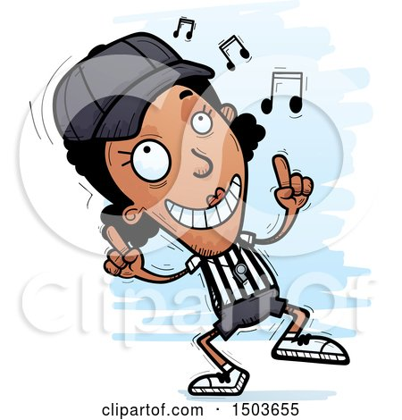 Clipart of a Black Female Referee Doing a Happy Dance - Royalty Free Vector Illustration by Cory Thoman