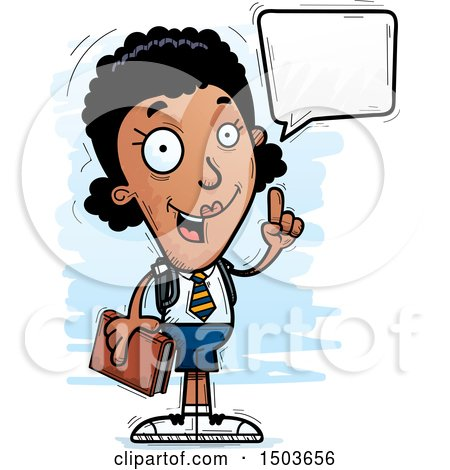 Clipart of a Talking Black Female College Student - Royalty Free Vector Illustration by Cory Thoman