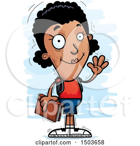Clipart of a Waving Black Female Community College Student - Royalty Free Vector Illustration by Cory Thoman