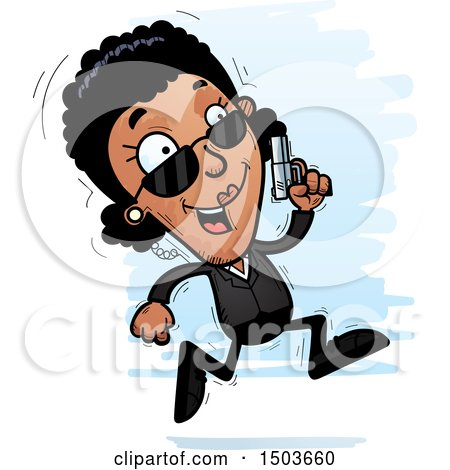 Clipart of a Running African American Woman Secret Service Agent - Royalty Free Vector Illustration by Cory Thoman