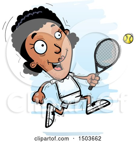 Clipart of a Running African American Woman Tennis Player - Royalty Free Vector Illustration by Cory Thoman