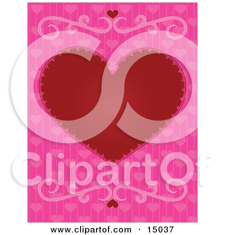 Big Red Love Heart Centered Over Pink Background With Heart Patterns And Two Scrolls, Which Would Be Great For Stationery Or A Web Background Clipart Illustration by Maria Bell