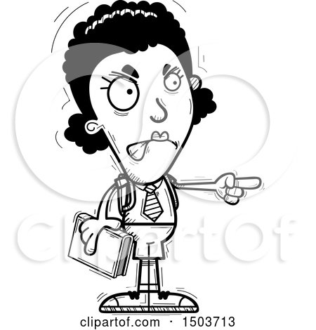 Clipart of a Black and White Mad Pointing Black Female College Student - Royalty Free Vector Illustration by Cory Thoman