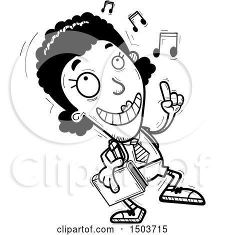 Clipart of a Black and White Black Female College Student Doing a Happy Dance - Royalty Free Vector Illustration by Cory Thoman