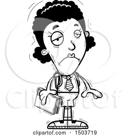 Clipart of a Black and White Sad Black Female College Student - Royalty Free Vector Illustration by Cory Thoman