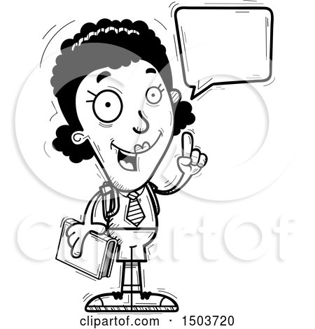 Clipart of a Black and White Talking Black Female College Student - Royalty Free Vector Illustration by Cory Thoman