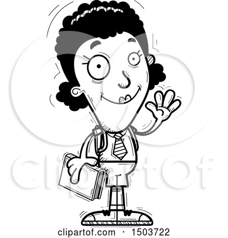Clipart of a Black and White Waving Black Female College Student - Royalty Free Vector Illustration by Cory Thoman