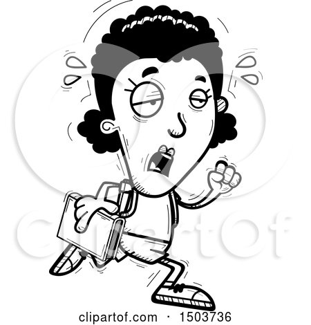 Clipart of a Black and White Tired Running Black Female Community College Student - Royalty Free Vector Illustration by Cory Thoman