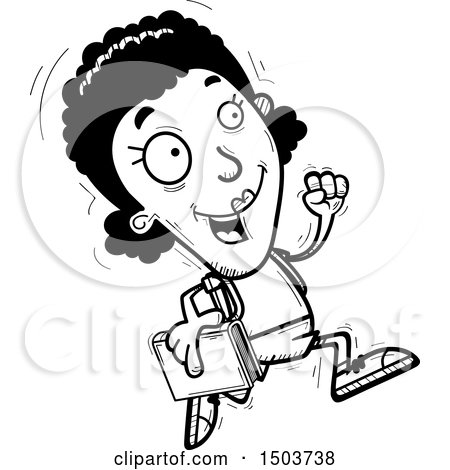 Clipart of a Black and White Running Black Female Community College Student - Royalty Free Vector Illustration by Cory Thoman
