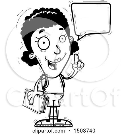 Clipart of a Black and White Talking Black Female Community College Student - Royalty Free Vector Illustration by Cory Thoman
