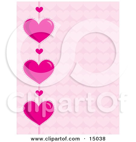 Strand Of Big Pink Hearts And Little Hearts Over A Pink Patterned Background, Which Would Be Great For Stationery Or A Website Clipart Illustration by Maria Bell