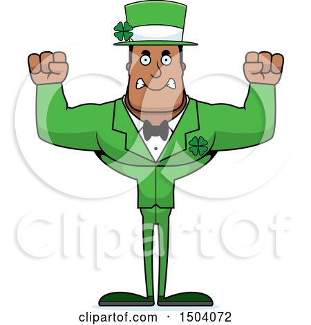 Clipart of a Mad Buff Black Irish Male Leprechaun - Royalty Free Vector Illustration by Cory Thoman