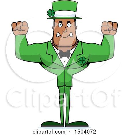 Clipart of a Mad Buff Black Irish Male Leprechaun - Royalty Free Vector Illustration by Cory Thoman
