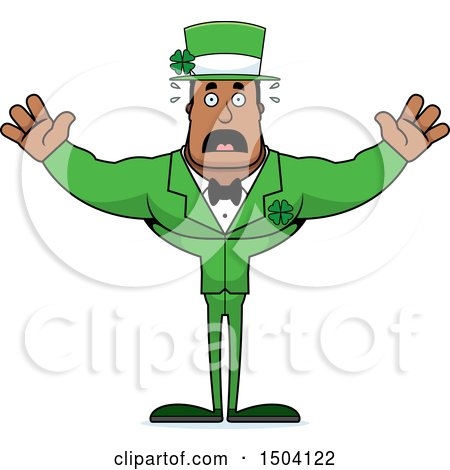 Clipart of a Scared Buff Black Irish Male Leprechaun - Royalty Free Vector Illustration by Cory Thoman