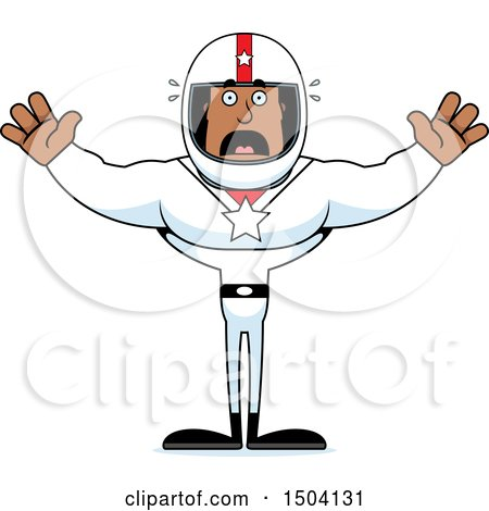 Clipart of a Scared Buff African American Male Racer - Royalty Free Vector Illustration by Cory Thoman