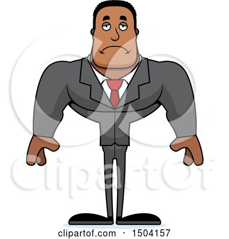 Clipart of a Sad Buff African American Business Man - Royalty Free Vector Illustration by Cory Thoman