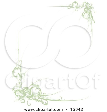 Elegant Green Scrolls Along Corners Of A White Background, Which Would Make Great Stationery Sheets Clipart Illustration by Maria Bell