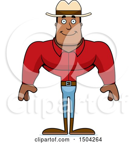 Clipart of a Happy Buff African American Male Cowboy - Royalty Free Vector Illustration by Cory Thoman