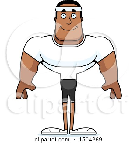 Clipart of a Happy Buff African American Fitness Man - Royalty Free Vector Illustration by Cory Thoman