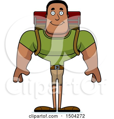 Clipart of a Happy Buff African American Male Hiker - Royalty Free Vector Illustration by Cory Thoman