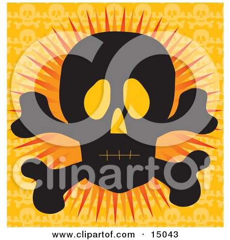 Silhouetted Human Skull And Crossbones With Glowing Eye Sockets, Over An Orange Background Clipart Illustration by Maria Bell