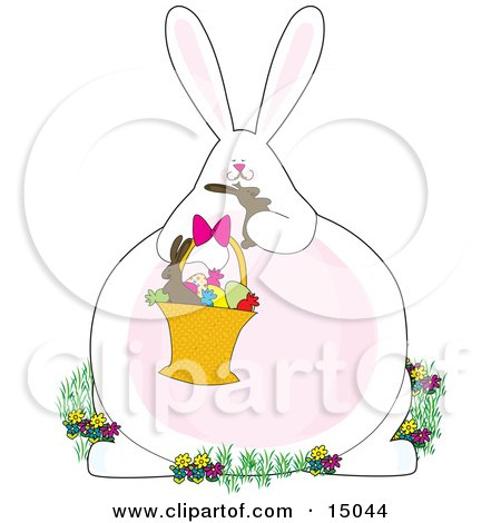 White Bunny Rabbit Sitting In Flowers And Holding A Basket Of Easter Eggs And Candies, Chowing Down On A Chocolate Bunny Clipart Illustration by Maria Bell