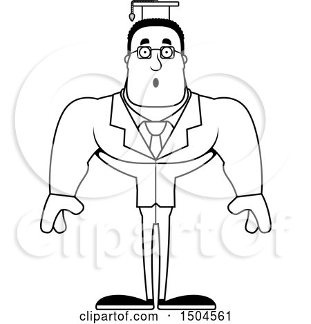 Clipart Of A Black And White Surprised Buff African American Male