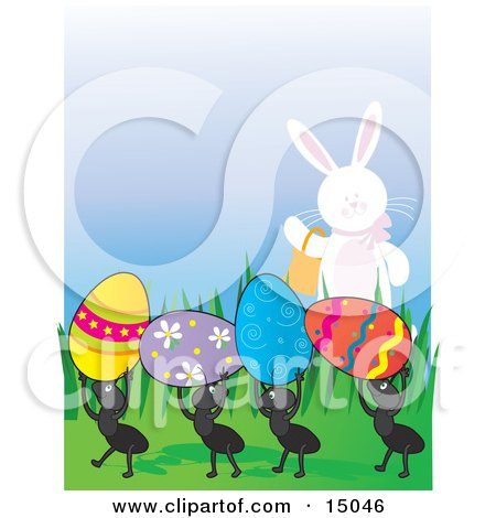 Cute White Easter Bunny Carrying A Basket And Waving To A Row Of Four Ants Carrying Away Colorful Eggs Clipart Illustration by Maria Bell