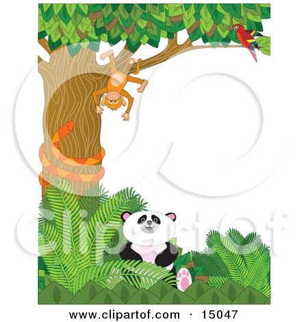 Cute Baby Panda Sitting In Green Foliage While An Orange Snake Coils Himself Around A Tree In Which A Scarlet Macaw Parrot Perches And Watches A Silly Monkey That Is Hanging Upside Down In A Zoo Clipart Illustration by Maria Bell