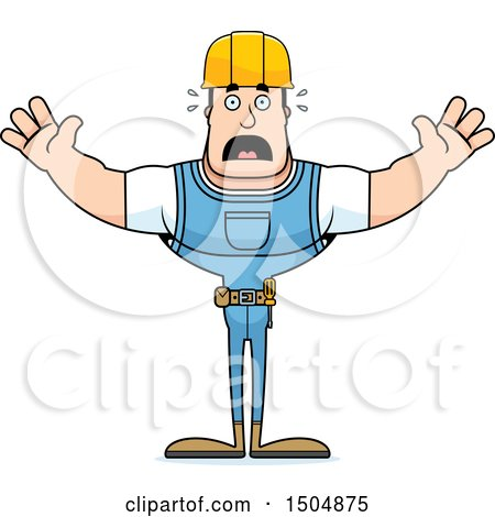 Clipart of a Scared Buff Caucasian Male Construction Worker - Royalty Free Vector Illustration by Cory Thoman