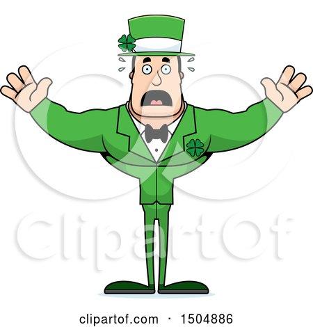 Clipart of a Scared Buff Caucasian Irish Man - Royalty Free Vector Illustration by Cory Thoman