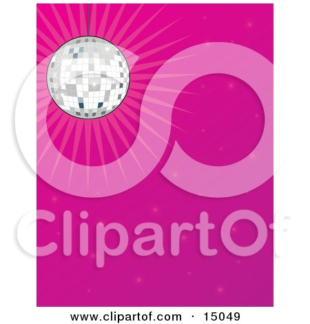 Sparkling Mirror Disco Ball Suspended From The Ceiling And Casting Light Over A Pink Background Clipart Illustration by Maria Bell