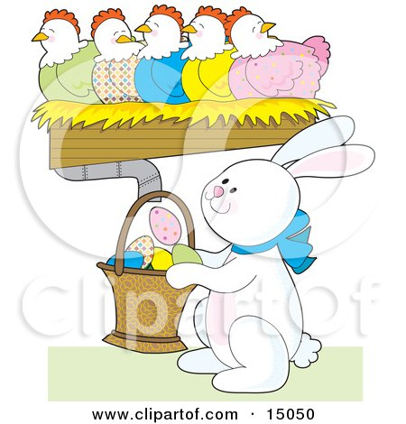 Busy White Easter Bunny Holding A Basket Under A Row Of Colorful Chickens Laying Decorated Eggs Clipart Illustration by Maria Bell