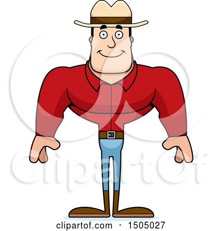 Clipart of a Happy Buff Caucasian Male Cowboy - Royalty Free Vector Illustration by Cory Thoman