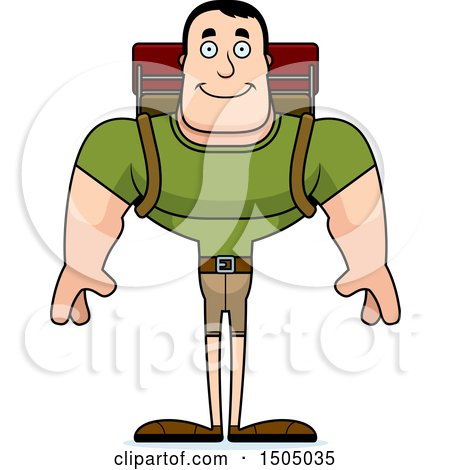 Clipart of a Happy Buff Caucasian Male Hiker - Royalty Free Vector Illustration by Cory Thoman