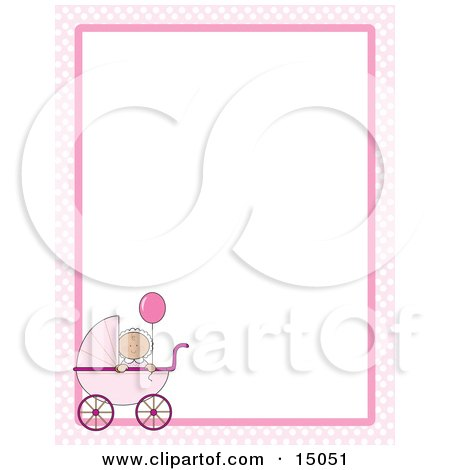 Cute Little Caucasian Baby Girl Holding A Balloon In A Pink Baby Carriage On A Pink And White Checkered Stationery Frame Posters, Art Prints